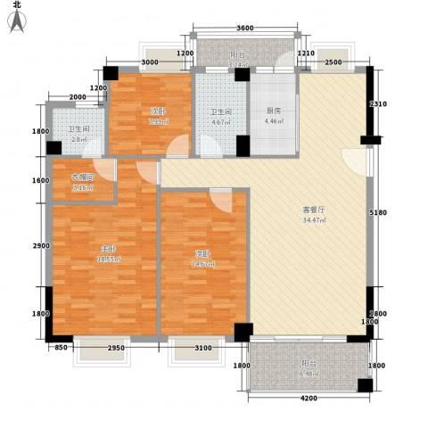 西堤国际花园3室1厅2卫1厨121.00㎡户型图