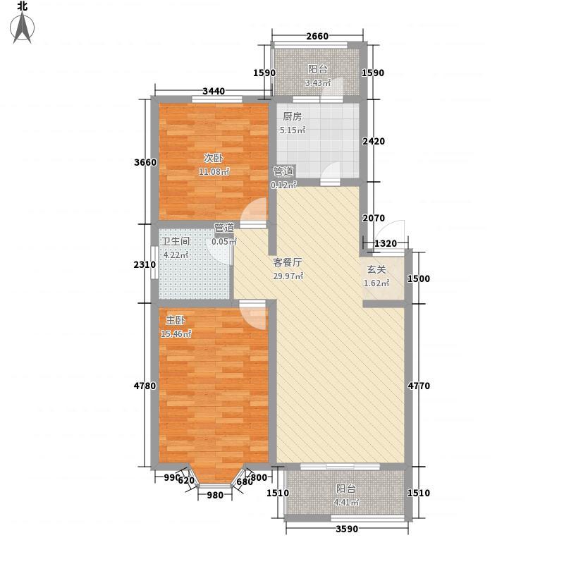 海之梦600x600户型2室2厅1卫1厨