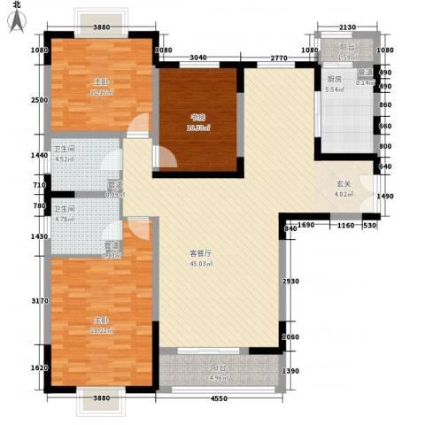 新兴骏景园二期3室1厅2卫1厨143.00㎡户型图