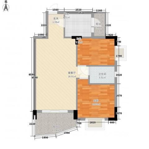 芳菲苑2室1厅1卫1厨86.00㎡户型图