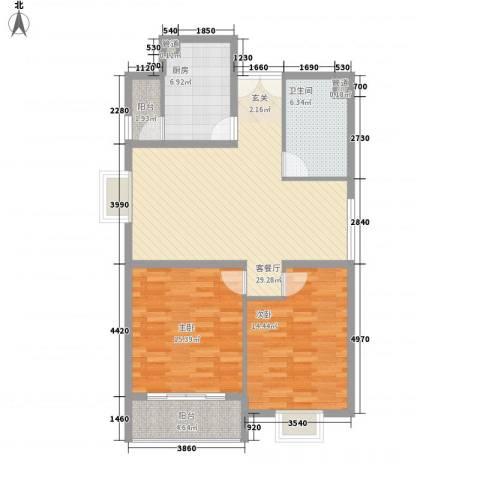 龙门山庄2室1厅1卫1厨112.00㎡户型图