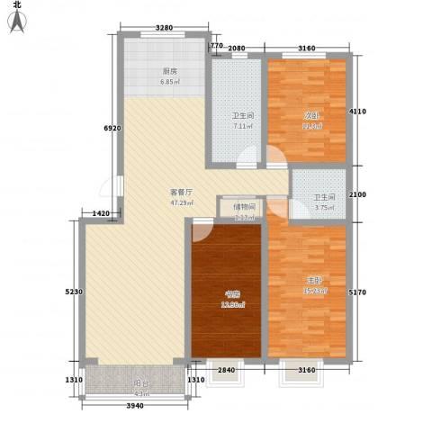 水岸茗苑3室1厅2卫0厨140.00㎡户型图