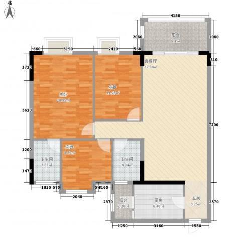 逸湖半岛3室1厅2卫1厨123.00㎡户型图