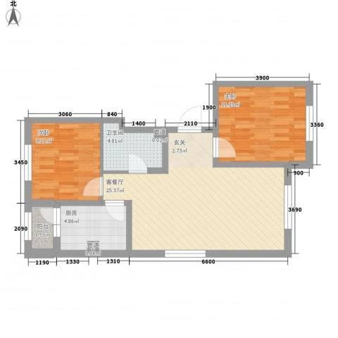 阳光乘风新城2室1厅1卫1厨86.00㎡户型图