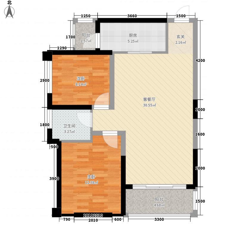 圣景龙湾81.40㎡5#03、04户型2室2厅1卫1厨