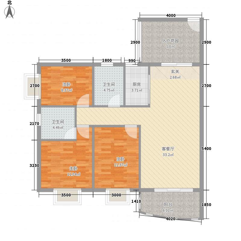 皇龙新城9#-E户型3室2厅2卫1厨