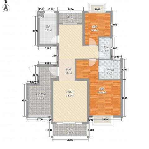 华翔世纪城2室1厅2卫1厨113.00㎡户型图