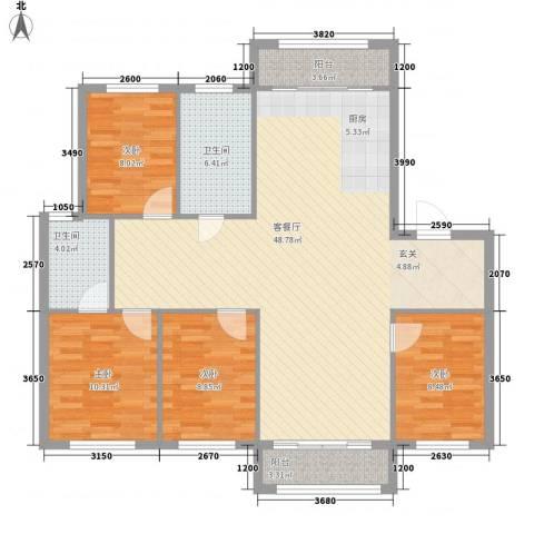 弘基书香园4室1厅2卫0厨141.00㎡户型图