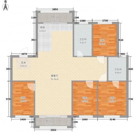 弘基书香园4室1厅2卫0厨145.00㎡户型图