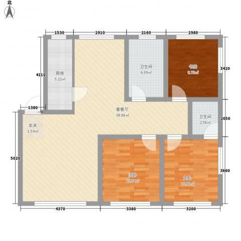 弘基书香园3室1厅2卫1厨118.00㎡户型图