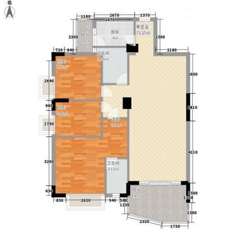 芳菲苑3室1厅2卫1厨127.00㎡户型图