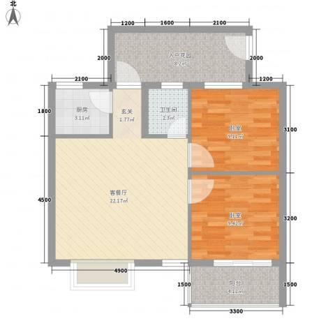 紫东公寓1厅1卫1厨60.00㎡户型图