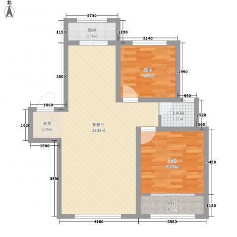 弘基书香园2室1厅1卫1厨87.00㎡户型图