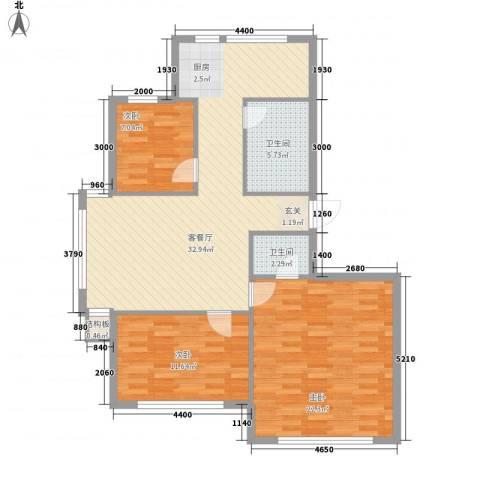 弘基书香园3室1厅2卫0厨114.00㎡户型图
