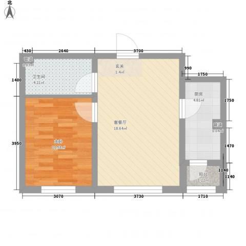 阳光乘风新城1室1厅1卫1厨58.00㎡户型图