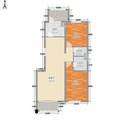 伊湾・尊府2室1厅2卫1厨110.00㎡户型图
