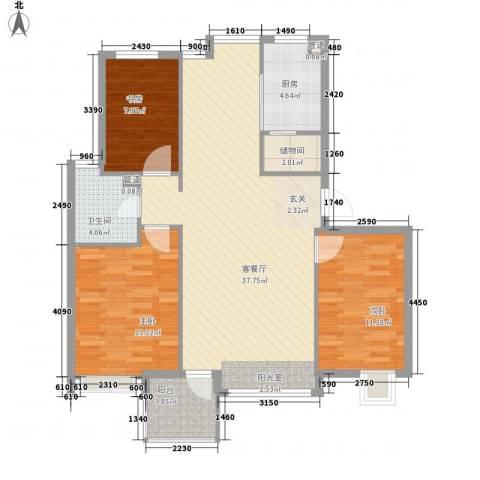 弘基书香园3室1厅1卫1厨119.00㎡户型图