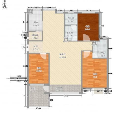 弘基书香园3室1厅3卫1厨137.00㎡户型图