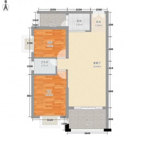 胜球阳光花园2室1厅1卫1厨78.00㎡户型图