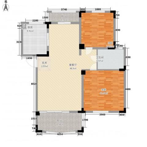 奇瑞龙湖湾2室1厅1卫1厨116.00㎡户型图