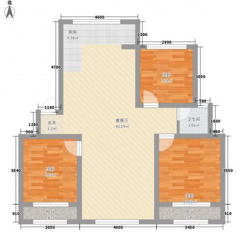 弘基书香园3室1厅1卫0厨109.00㎡户型图