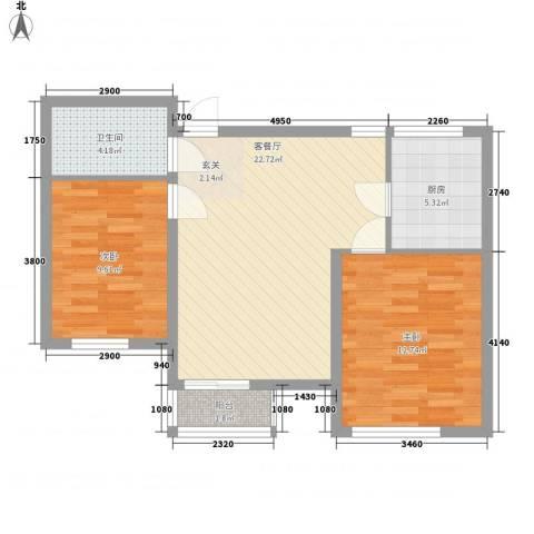 境界梅江观秀2室1厅1卫1厨85.00㎡户型图