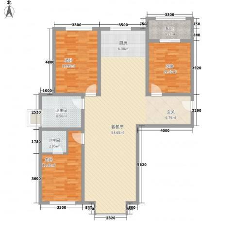 东方之珠龙腾苑3室1厅2卫0厨148.00㎡户型图