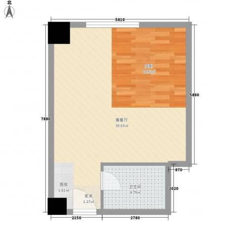 名都中央广场1厅1卫0厨55.00㎡户型图