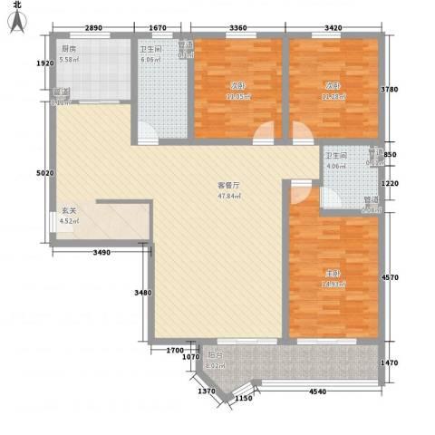 虹桥府邸3室1厅2卫1厨156.00㎡户型图