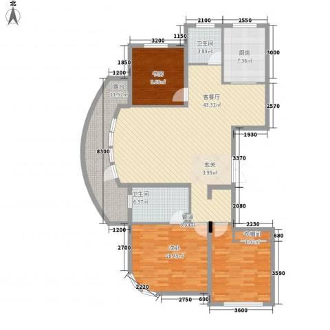 君豪・绿园2室1厅2卫1厨144.00㎡户型图