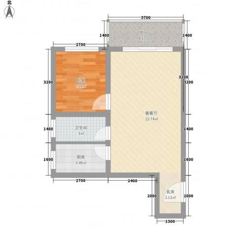 紫东公寓1厅1卫1厨50.00㎡户型图
