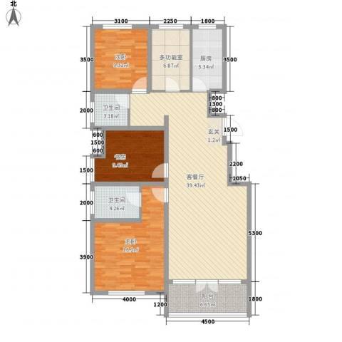 红蔷花园3室1厅2卫1厨144.00㎡户型图