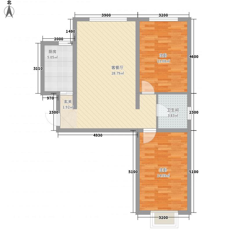 天艺时代城84.97㎡天艺时代城户型图两室一厅一卫2室1厅1卫户型2室1厅1卫