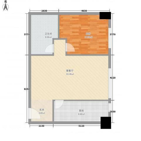 名都中央广场1室1厅1卫1厨90.00㎡户型图