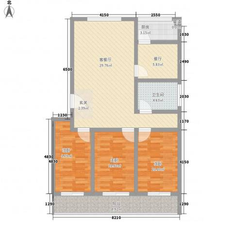 新城金水岸3室2厅1卫1厨119.00㎡户型图