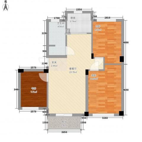 伟业迎春世家3室1厅1卫1厨82.00㎡户型图