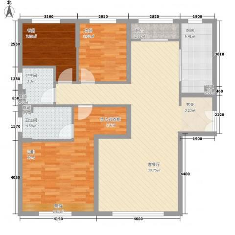 华业玫瑰东方Ⅱ期3室1厅2卫1厨135.00㎡户型图