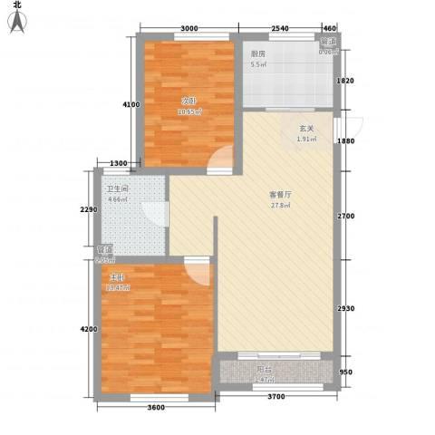 君豪・绿园2室1厅1卫1厨64.67㎡户型图