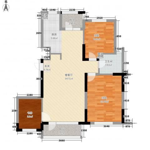 九洲湾景汇3室1厅1卫0厨105.00㎡户型图