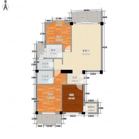 艾德花园3室1厅2卫1厨128.00㎡户型图