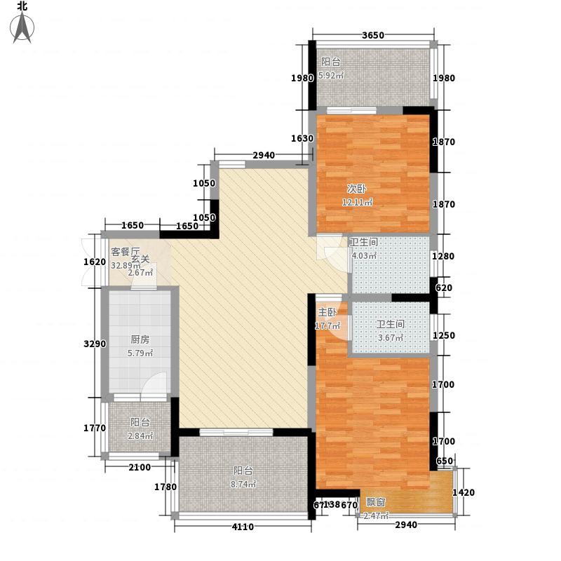 玉龙居115.00㎡D-D2型户型2室2厅2卫1厨