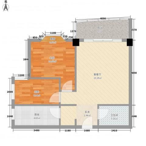 艾德花园2室1厅1卫1厨75.00㎡户型图