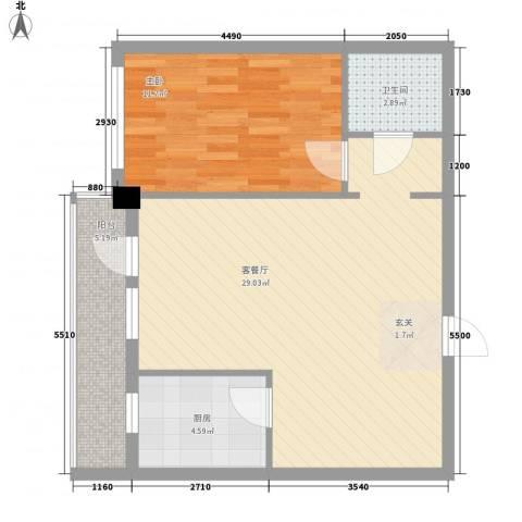 北欧假日三期1室1厅1卫1厨75.00㎡户型图