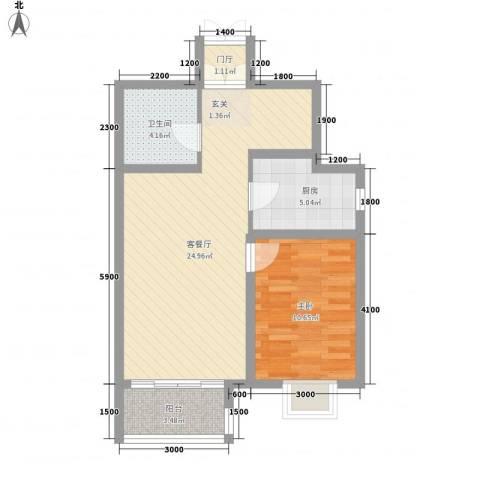 名都中央广场1室1厅1卫1厨70.00㎡户型图