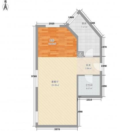 名都中央广场1厅1卫1厨70.00㎡户型图