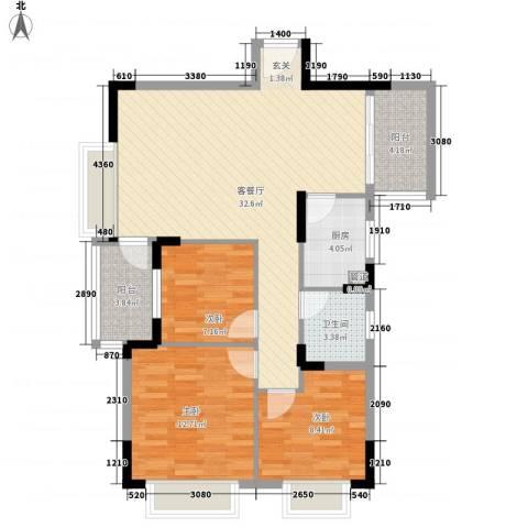 风临四季花园3室1厅1卫1厨89.00㎡户型图