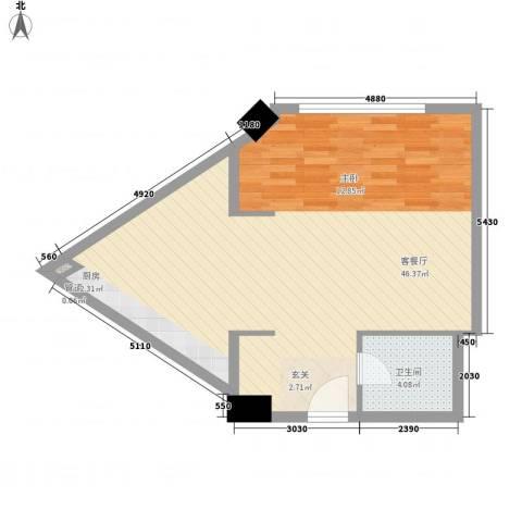 名都中央广场1厅1卫0厨70.00㎡户型图