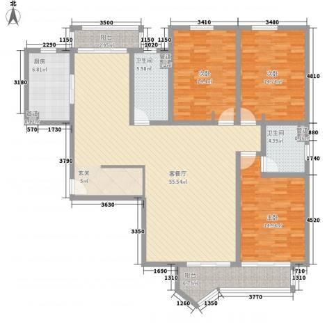 虹桥府邸3室1厅2卫1厨181.00㎡户型图