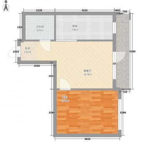 北欧假日三期1室1厅1卫1厨65.00㎡户型图