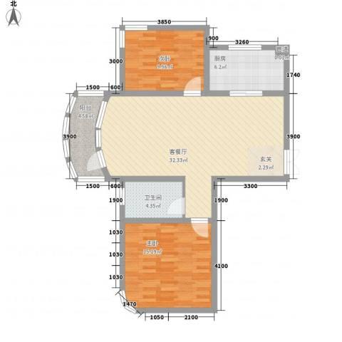 君豪・绿园2室1厅1卫1厨72.63㎡户型图